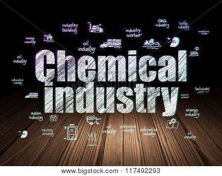 Industry concept: Chemical Industry in grunge dark room