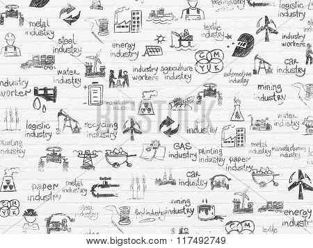 Grunge background: White Brick wall texture with Painted Hand Drawn Industry Icons