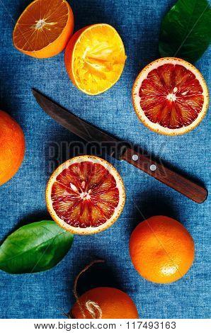 Orange Fruits On Blue Textile