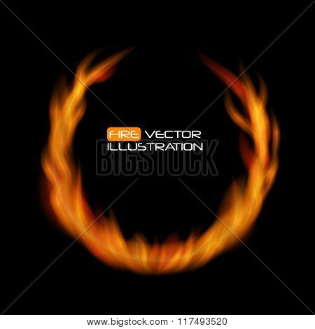 Naturalistic Fire Frame on Dark  Background. Vector Illustration