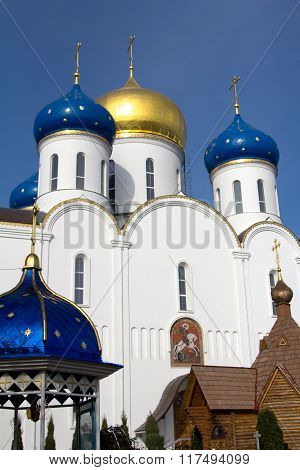 White orthodox church against the blue sky