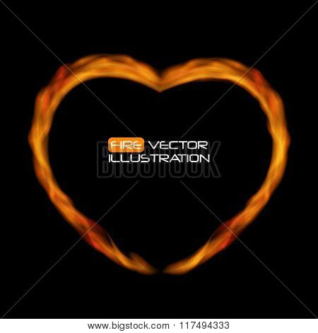 Naturalistic Fire Heart on Dark  Background. Vector Illustration