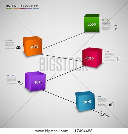 Time Line Info Graphic With Colored Cubes Template