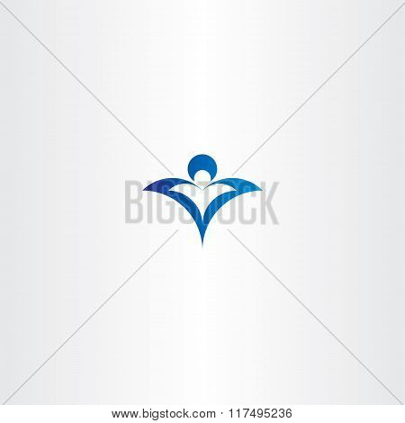 Man And Child Protect Blue Logo Vector Icon