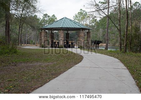American forest BBQ picnic area in park on lake