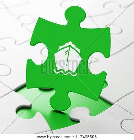 Tourism concept: Ship on puzzle background