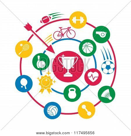Sport Concept, Abstract Circle With Icons Of Sports Accessories And Equipment.