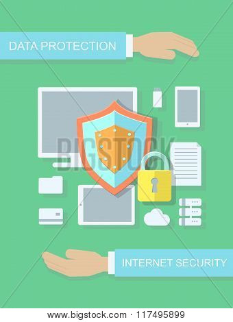 Internet security, data protection flat illustration concept for web banners, sites, infographics.