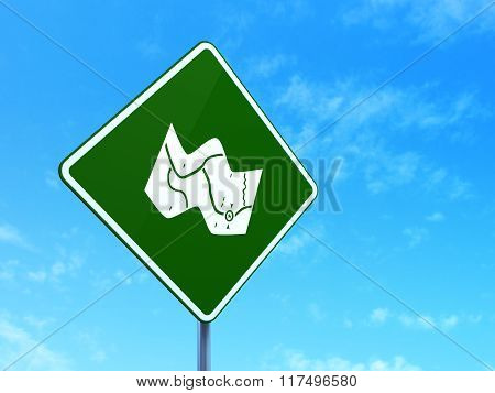 Tourism concept: Map on road sign background