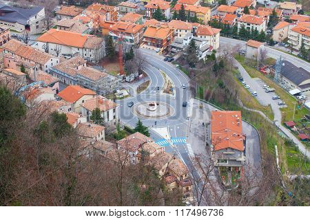 Tiled Rooftops Aerial View.