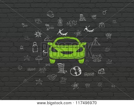 Tourism concept: Car on wall background