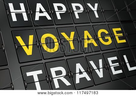 Travel concept: Voyage on airport board background