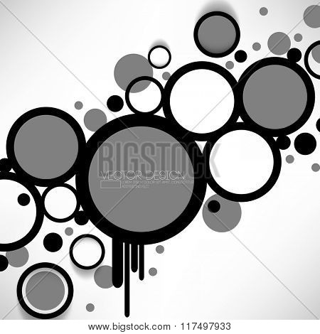 overlapping geometric circles and rings black and gray