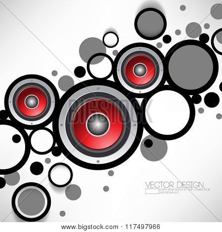 red speakers on geometric rings and circles