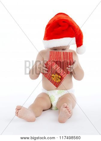 cute boy with santa hat on white