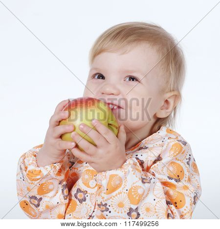 Cute child with red apple.