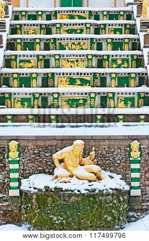 Peterhof. Russia. Allegory of the Volkhov River Sculpture