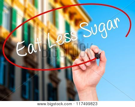 Man Hand Writing Eat Less Sugar  With Black Marker On Visual Screen