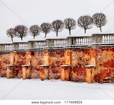 Peterhof. Russia. Wall and rampart