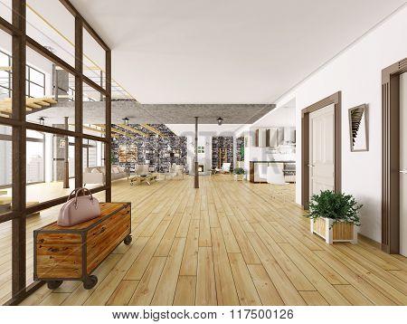 Loft Apartment Interior 3D Rendering