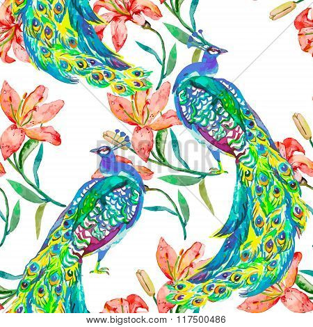 Beautiful peacock pattern.Vector. Peacocks and lily.