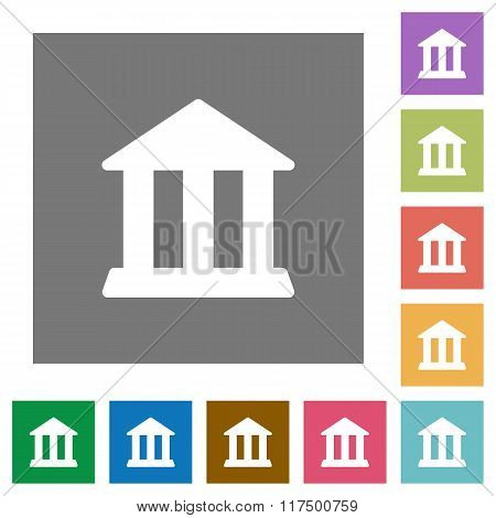 Bank Square Flat Icons