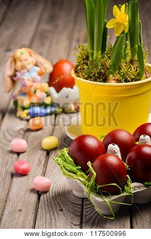 Easter composition with eggs.