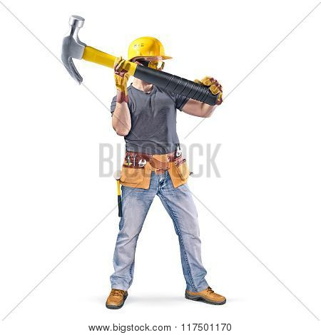 construction worker with tool belt and hammer