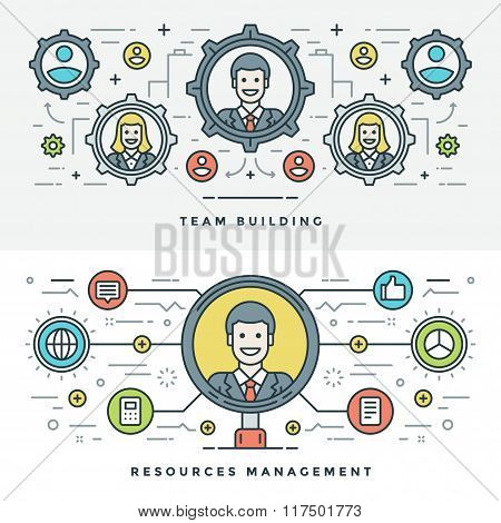 Flat line Team Building and Management. Vector illustration.