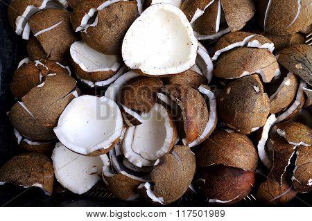 Pile of coconut coconut flesh texture background