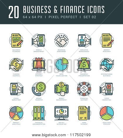 Line icons set. Trendy Modern flat thin linear stroke vector Business and Finance concept.