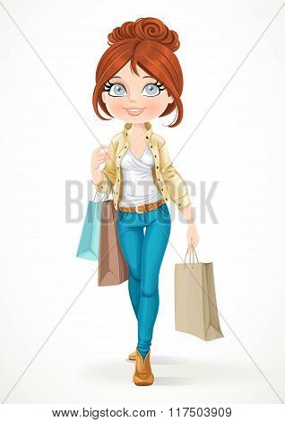 Shopaholic Brunette Girl Goes With Paper Bags Isolated On A Whit