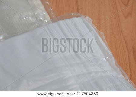 plastic bag packing other size on table
