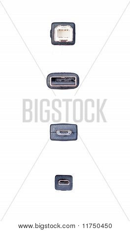 Usb, Mini-usb And Micro-usb  On A White Background