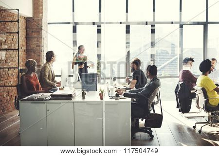 Business Team Busy Working Talking Concept
