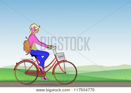 A Girl on a Bicycle with Meadow Landscape