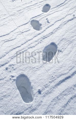 Deep Steps On Snow Bright Surface