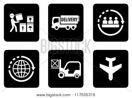 set of six icons for delivery