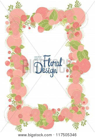 Vertical floral frame and place for text