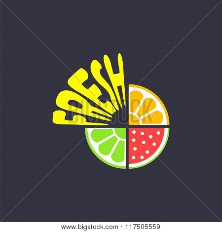 logo with pieces of fruits and word fresh