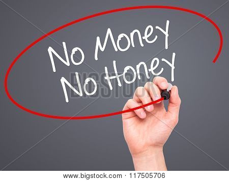 Man Hand Writing No Money No Honey With Black Marker On Visual Screen.