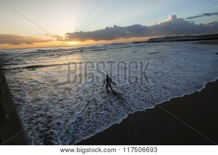 Surfer Surfing Beach Sunrise