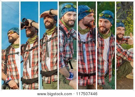 Collage of young caucasian tourist with backpack