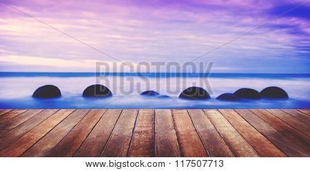 Tranquil Peaceful Nature Mist Fog Stone Boardwalk Concept