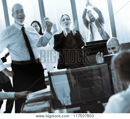 Success Achievement Corporate Business People Celebration Concept