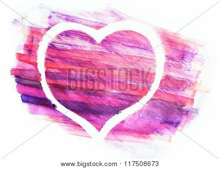 Aquarelle heart painted on white paper.