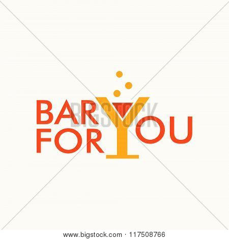 logo with phrase bar for you with wineglass