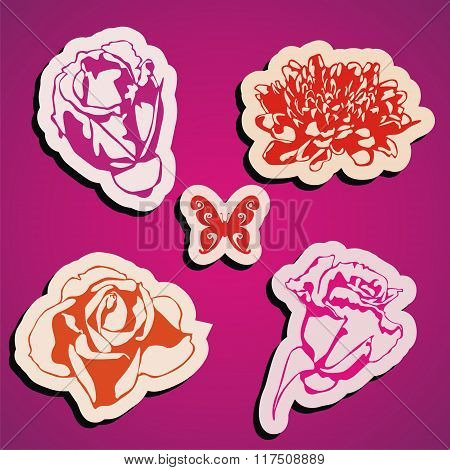 vector flowers stickers