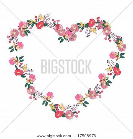 Floral heartshaped wreath made of wildflowers