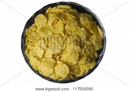 Healthy Breakfast Bowl of corn flakes isolated on white background